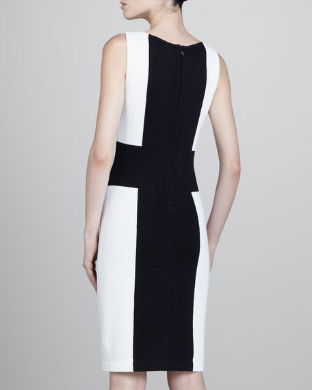 Cross Colorblock Dress, Black/White