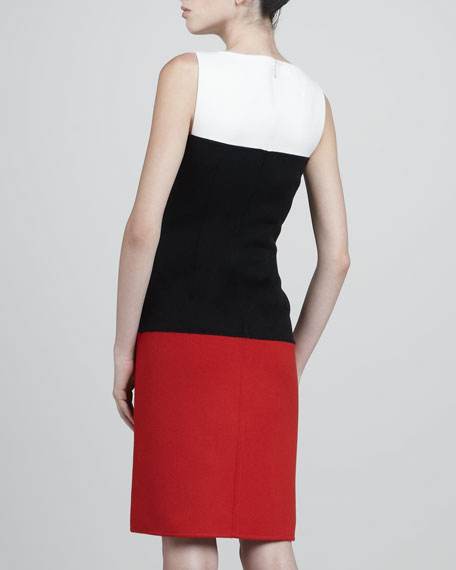 Colorblock Felt Dress