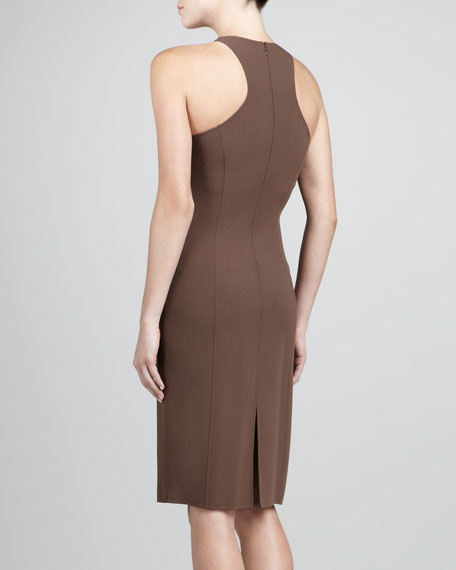 Fitted Crepe Dress, Cocoa