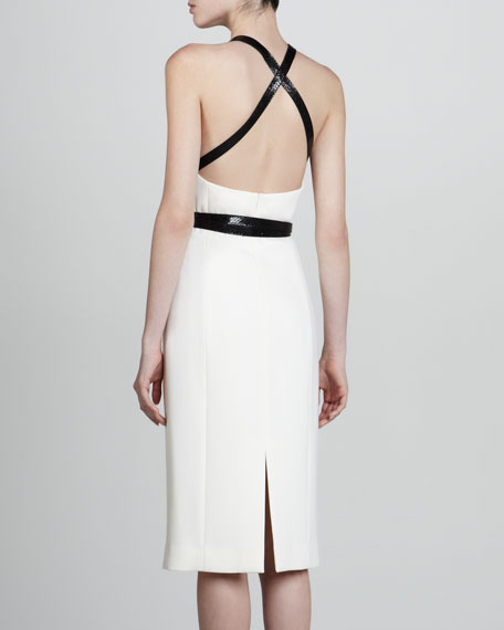 Cross-Belt Boucle Dress, Optic White