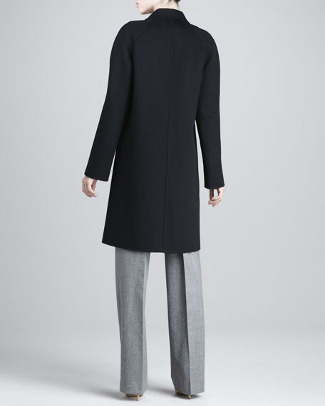 Double-Face Wool Melton Balmacaan Coat