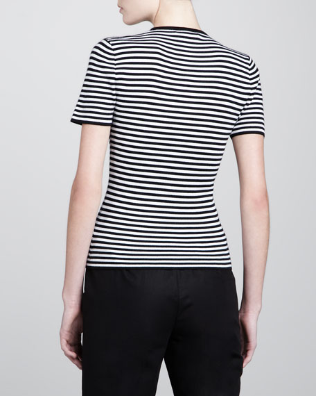 Super Cashmere Striped Tee, White