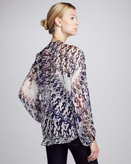 Printed Silk Surplice Blouse
