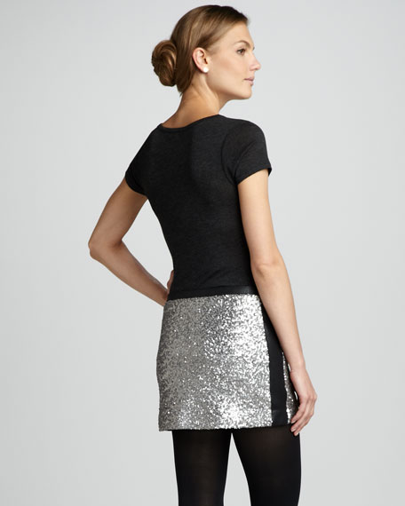 Sequined Leather-Panel Skirt