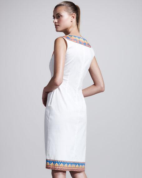 Printed Stretch-Poplin Dress