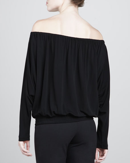 Crepe Jersey Off-the-Shoulder Top, Black