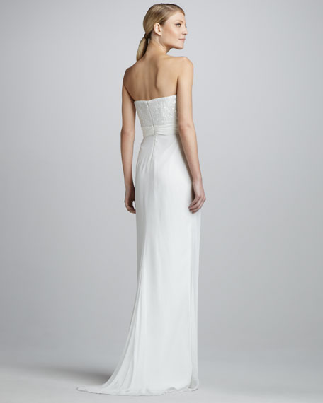 Strapless Beaded Silk Sweetheart Gown
