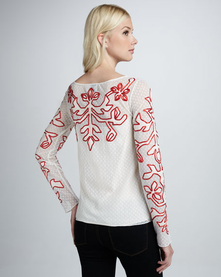 Floria Embroidered Voile Top