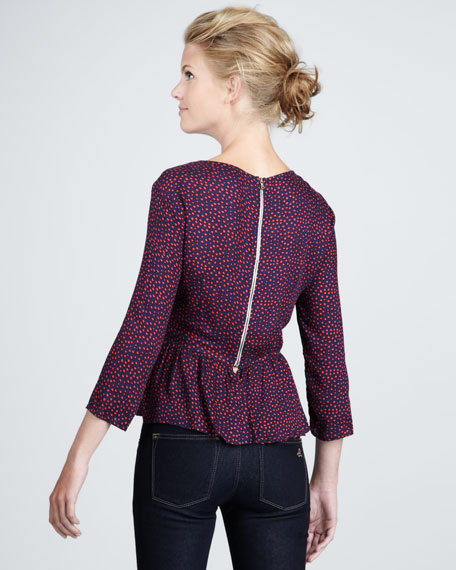 Paulina Dotted Peplum Top