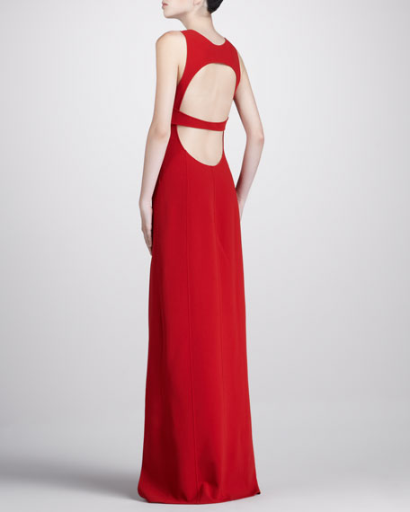 Crepe Open-Back Gown