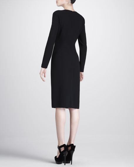 Front-Slit Crepe Dress