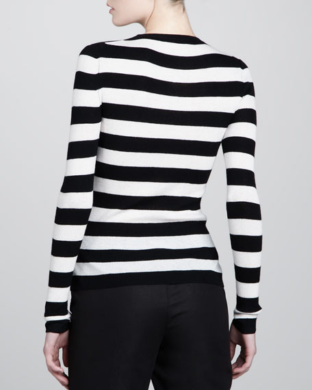 Striped Cashmere Sweater, White
