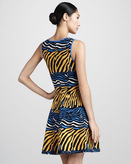 Zebra-Print Fit-and-Flare Dress