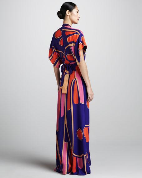 Deep V Silk Kimono Maxi Dress