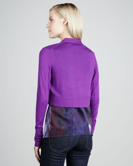 Adil Cropped Cardigan, Violet Spectrum