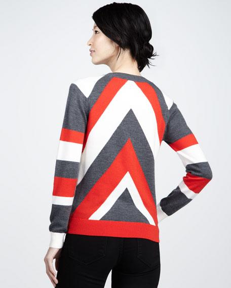 Chevron-Pattern Intarsia Sweater