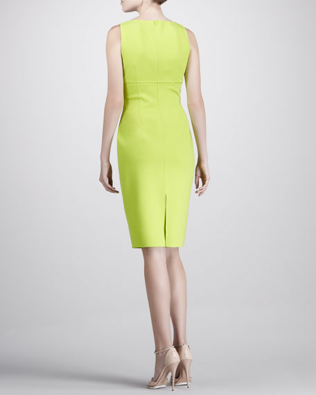 Square-Neck Crepe Dress