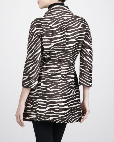 Brocade Zebra-Print Coat