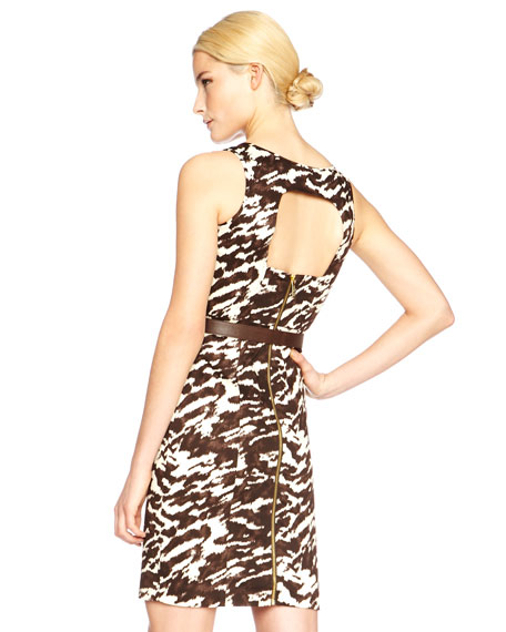 Exclusive Printed Back-Cutout Dress
