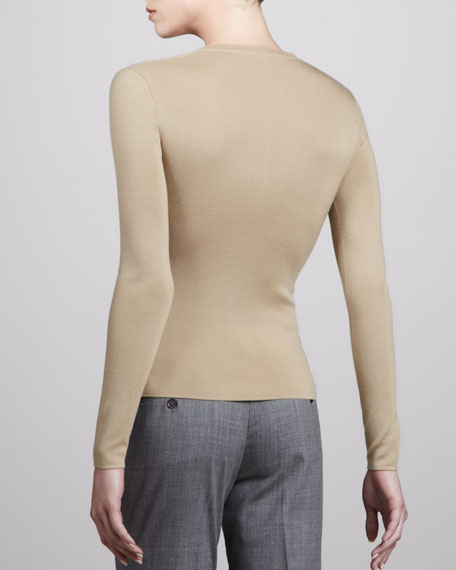 Slim Cashmere Sweater, Khaki