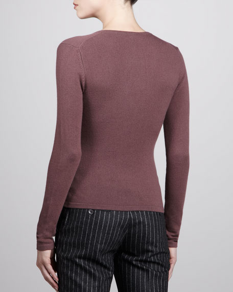 V-Neck Cashmere Sweater, Mauve