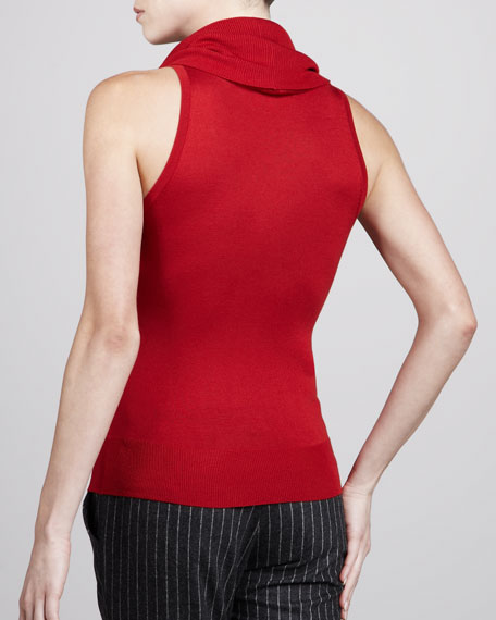 Sleeveless Cowl-Neck Sweater, Crimson