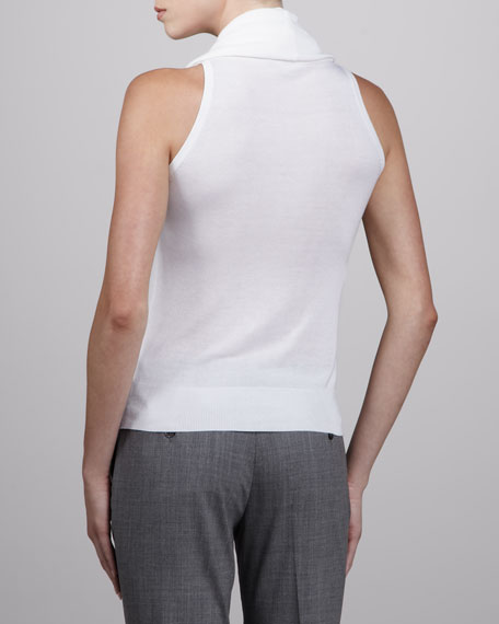 Sleeveless Cowl-Neck Sweater, White