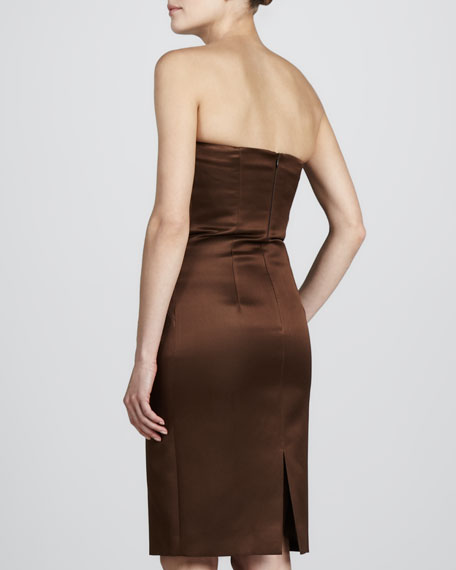 Strapless Sateen Cocktail Dress