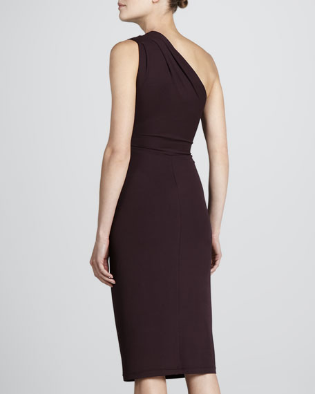 Stretch Twist Jersey Dress, Cabernet