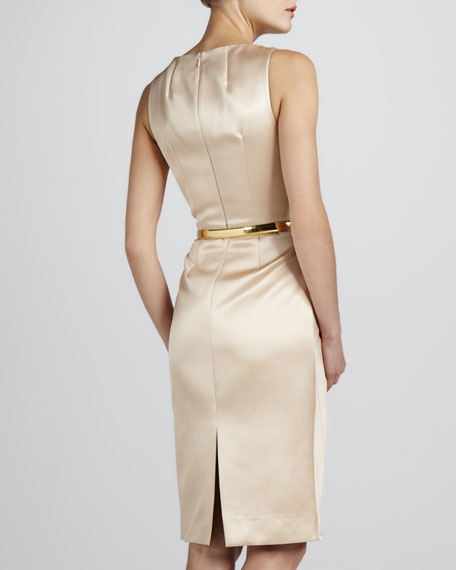 Boat-Neck Sateen Dress, Nude