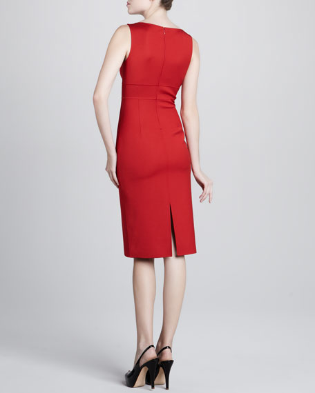 V-Neck Crepe Dress, Crimson