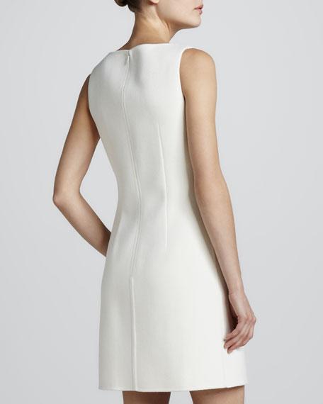 Crepe Sleeveless Shift Dress