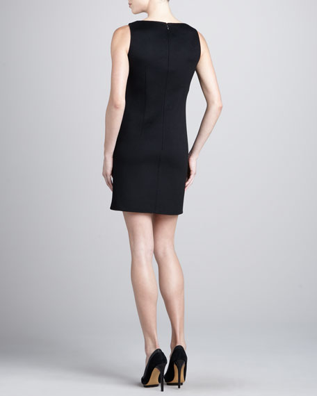 Sleeveless Wool-Crepe Dress, Black