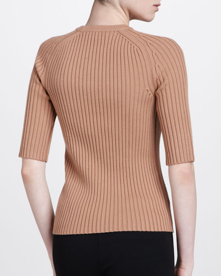 Half-Sleeve Crewneck Top, Suntan