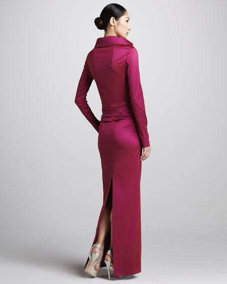 Long-Sleeve Ruched Taffeta Gown