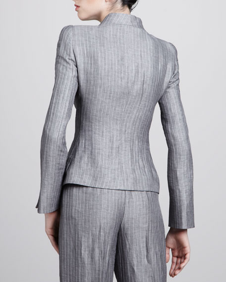 Pinstripe Button-Front Jacket, Steel
