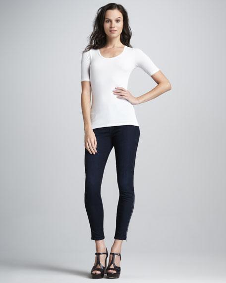 Patsy High-Rise Zipper-Cuff Skinny Jeans