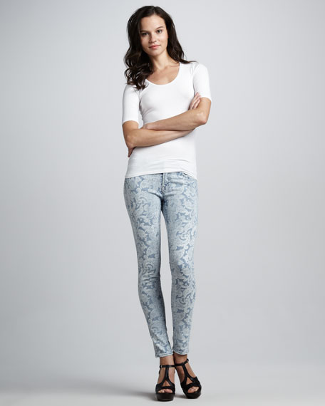 Bandana-Print Skinny Jeans