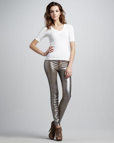 Crinkled Metallic Skinny Jeans