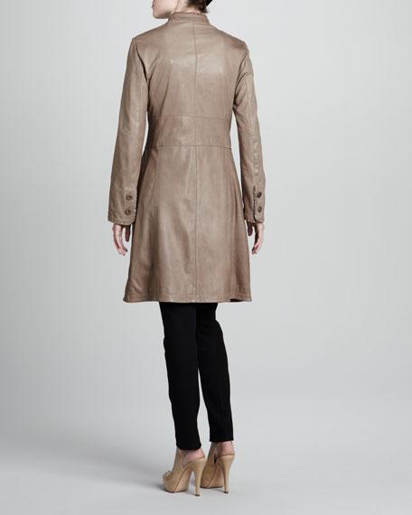 Ruffle-Trim Leather Coat