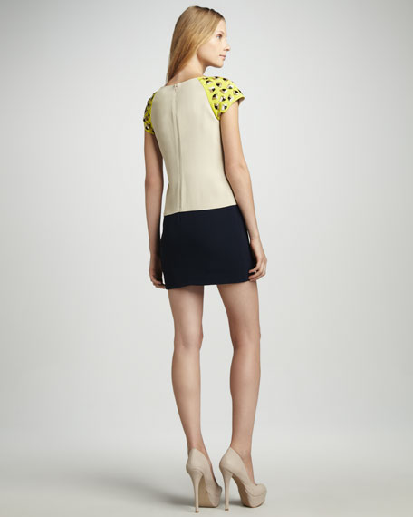 Midtown Stud-Shoulder Colorblock Dress