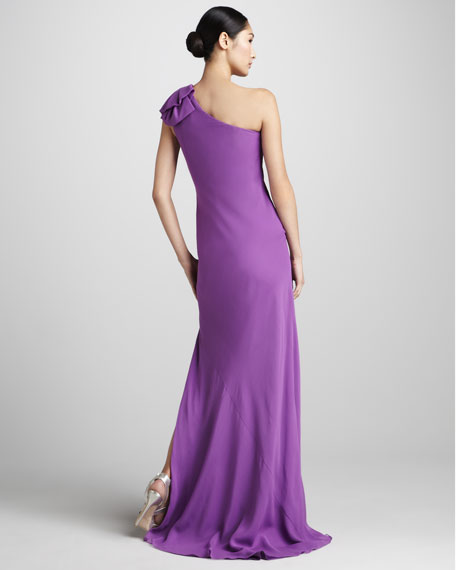 Ruffled One-Shoulder Gown
