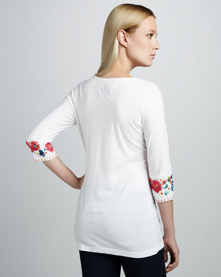 Cassie Embroidered Boho Tee, Women's