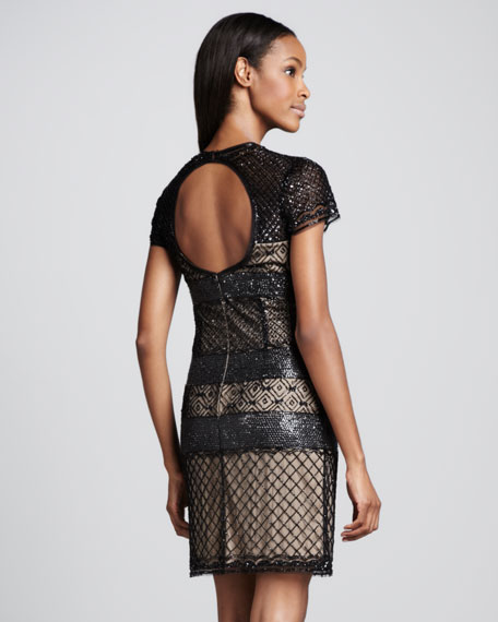 Short-Sleeve Cocktail Dress with Open Back