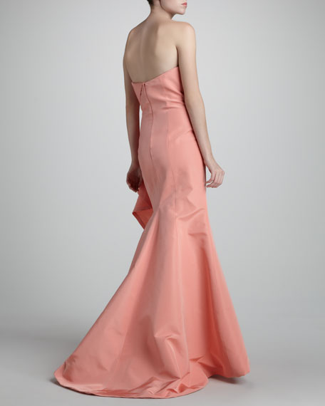 Draped Strapless Silk Gown