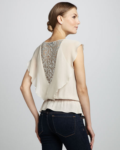 Lace-Panel Silk Top