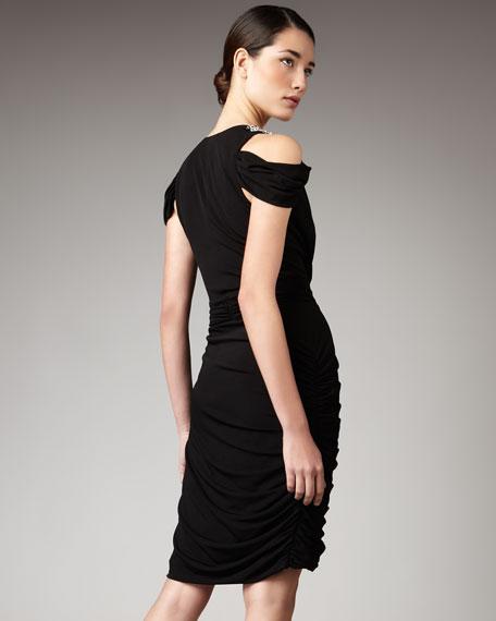 Cold-Shoulder Draped Dress