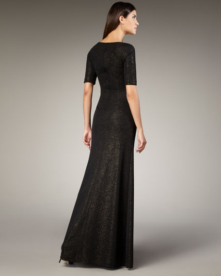 Square-Neck Sparkle Gown