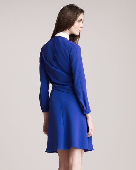 Drape-Front Button-Down Dress