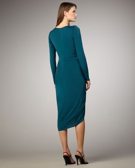 Long-Sleeve Ruched Dress